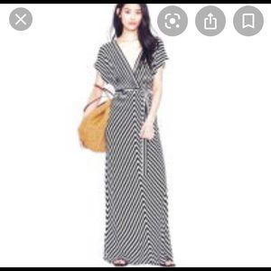 J. Crew Black & White Stripe Maxi Dress
